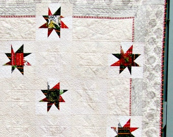 Christmas Quilt Throw Stars Red Green Rustic