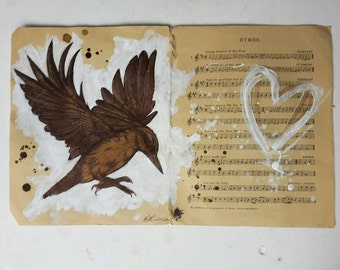 Flying Nuthatch, Origanal Artwork on Vintage Music Papper