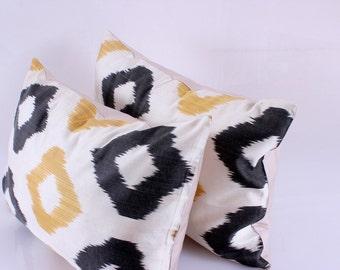 Set Of 2 Ikat Pillow Cover Silk Floral Decorative Throw Pillow Cover Ikat Throw Pillow Covers
