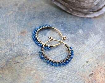 Bronze Hoops, Seed Bead Hoops, Blue Hoops, Wire Wrapped Hoops, Fairy Hoops, Lightweight Earrings,  3/4 inch hoops, Very Small Hoops
