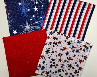 Felt Coaster Set - Red, White ans Blue 4th of July Patriotic Coasters Set of 4 - Ready to Ship