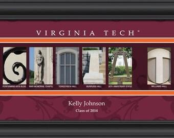 PERSONALIZED & FRAMED NCAA Virginia Tech Hokies Letter Art Sports Prints