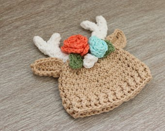 Floral Crown Deer Hat - Baby Girl Deer Hat - Flower Hat