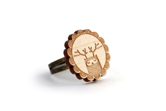 Reindeer ring - deer ring - elk jewelry - stag jewellery - forest animal - graphic creature - illustrated accessory - lasercut maple wood