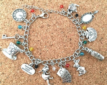 Alice in Wonderland inspired charm bracelet