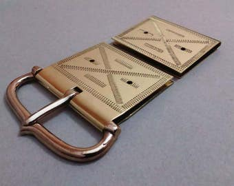 Medieval Belt Set With Engraved Buckle Mount and Strap End, Bronze and Brass