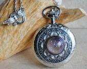 Dragons breath pocket watch pendant in silvertone