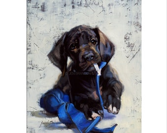 Dog Art - Matted Print of Original Custom Oil Painting - Puppies, Dogs, Puppy, Animal Lovers, Wall Art, Happy, Fun, Boy, Girl, For Wall