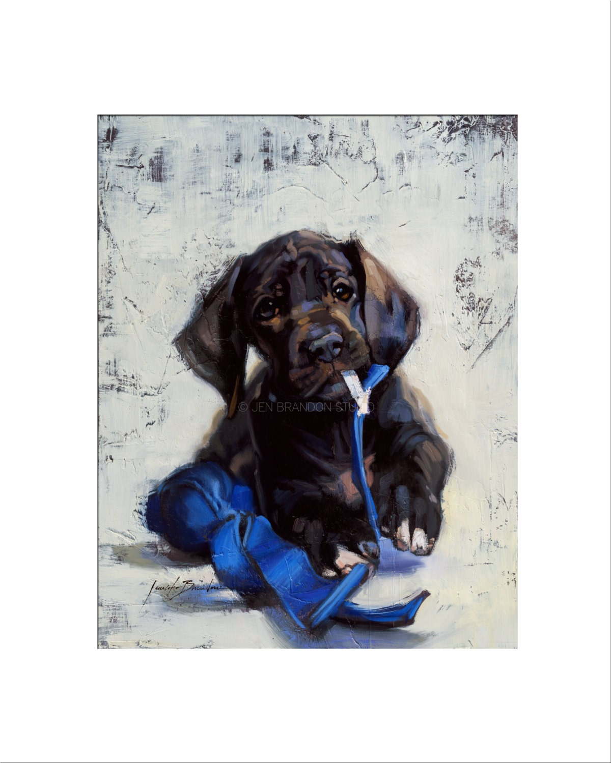 Dog Art Matted Print Of Original Custom Oil Painting