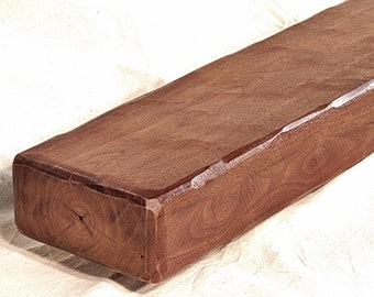 Rustic Reclaimed Solid Walnut Fireplace Mantel Floating Shelf Early Saw Milled Beam