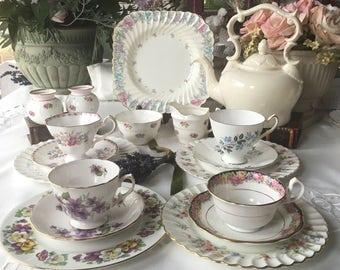 Beautiful English Mismatched Tea Set for 4 Twenty  Pieces Alice  n Wonderland Instant Tea Part