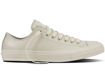 Converse Leather Wedding Beige Ivory Bone Cream White Chuck Taylor II Low Top w/ Swarovski Crystal Rhinestone All Star Trainer Sneaker Shoes