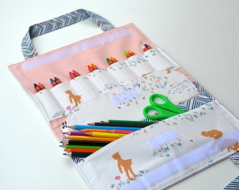 Playground coloring bag. Art tote up to 14 crayons. Kids travel crayon bag 10,5x7,5''. Playground fabrics by AGF. Ready to ship gift