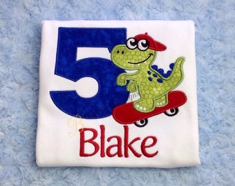 Dinosaur on Skateboard Shirt, Dinosaur Birthday Shirt, Boys Birthday Shirt, Boys Applique Shirt, Tops, T-Rex Birthday, Dino Shirt, Bday 1-9