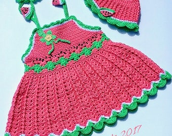 Watermelon Crochet Baby-sundress-girl-dress-Handmade-Dress-Summer-clothes-toddler-dress With Matching hat