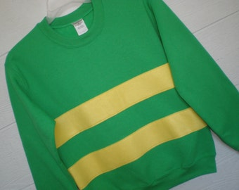Undertale shirt, Asriel sweatshirt, Asriel shirt, Undertale costume, cosplay shirt, green sweatshirt with yellow stripe, unisex adult sizes