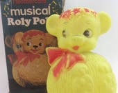 Vintage Mothercare Roly Poly Yellow Bear Toy in Original Box- Tumble Doll Weeble Toy from 1960s- Made in England