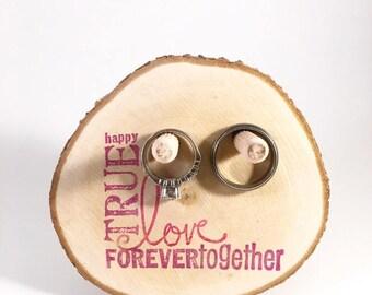 Ring Holder - wood ring stand - true love forever