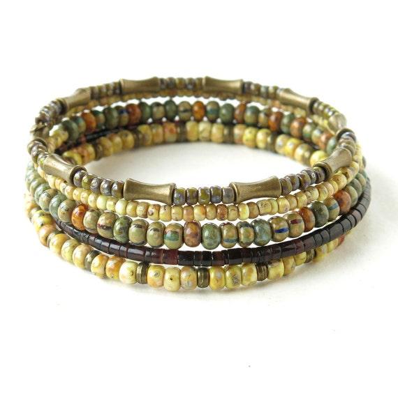 Stacked beaded bracelet memory wire bracelet for women