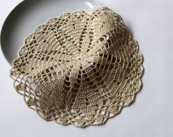 ON SALE Small ecru handcrochet doily, Table decoration, lace center piece, Easter coaster Ready for shipment