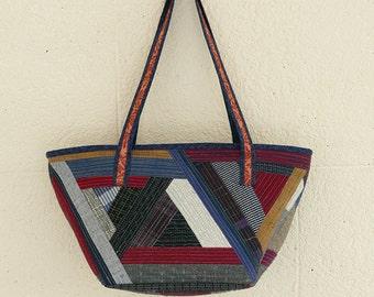 Japanese kimono Boro bag, triangle bag, shoulder bag, Kimono bag