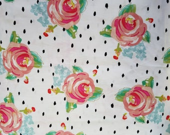 Pink Floral Fabric- Floral Fabric by the Yard-Quilt Fabric-Apparel Fabric-Home Decor Fabric-Fat Quarter-Craft Fabric-Polka Dot Fabric