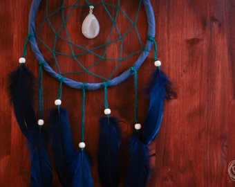 Dream Catcher - Dark Forest No.11. - Boho Dreamcatcher with Raw Crystal Amulet and Deep Blue Feathers - Mobile, Nursery Decor