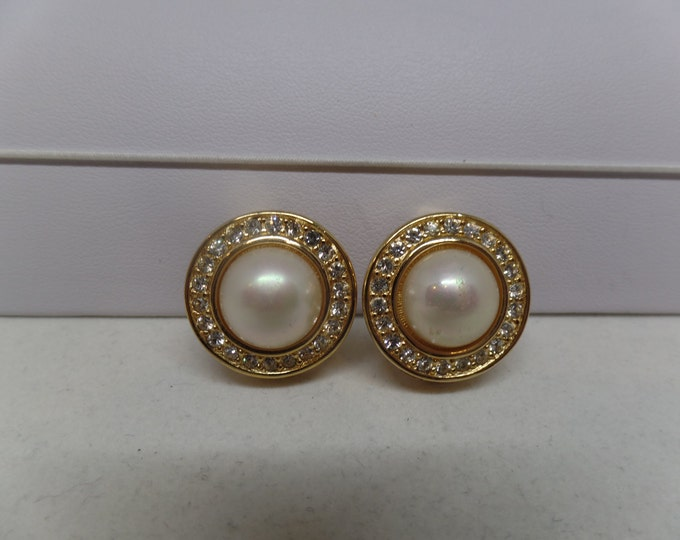 CHRISTIAN DIOR Signed Vintage Pearl & Crystal Earrings