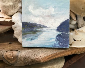 Miniature oil painting, Morning Harbor stretched canvas miniature Maine  artist Adrienne Kernan LaVallee art and collectibles ACEO