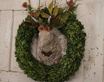 Rustic woodland buck wall mount w/ ornate antlers and boxwood wreath painted farmhouse deer wall hanging home decor anita spero design
