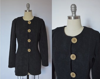 1980's Black Sweater Jacket with Gold Buttons