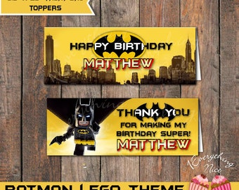 "Batman Lego Theme Birthday Treat Bag Toppers 6.5"" x 2.5"" Size"