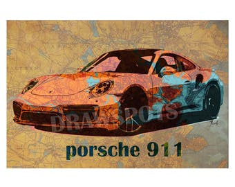 Porsche 911 2017 on Old Boston map, 1893, Art Print 14x9.40in and larger sizes, Motorcycle Art print,Original art for men cave,Giftforher