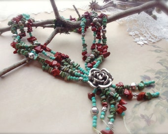 Multi Strand Necklace, Tribal Jewelry, Western Necklace, Southwest Jewelry, Turquoise and Jasper Necklace *ROSIE*
