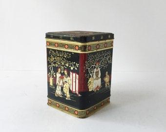 Vintage English Tea Tin Asian Motif Black Gold Red Chinoiserie Tin, English Tea Canister, Vintage Kitchen Storage