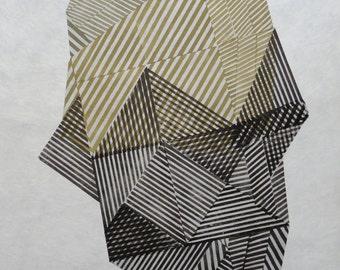 Shape nr. 38, original linocut monotype print by Paulina Varregn, geometric abstract art