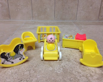 Vintage Fisher Price Little People Baby with Nursery