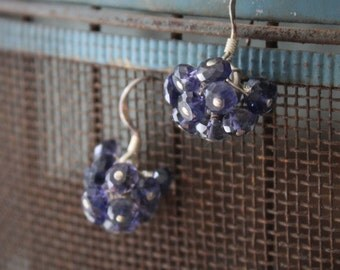 Delicate iolite gemstone flower bud cluster earrings on 925 sterling silver rings and ear wires