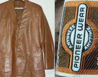 1970s Leather Jacket / 36 - 38 / S - M / Pioneer Wear / Vintage Leather Jacket / Western / Cowboy / Hippie / Rocker / 1970s Mens Fashion