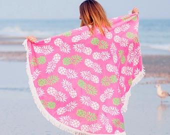 Monogram Round Beach Roundie Towel Blanket Pineapple Sand Circle
