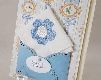 Vintage Wedding Hankie Card Applique Keepsake Mother Of The Groom Mother Of The Bride Grandmother Happy Tears Thank You Handkerchief