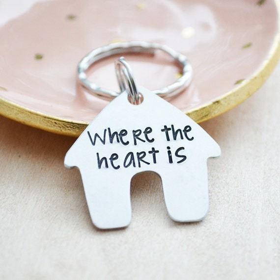 Where the Heart is Keychain - New Home Keychain - Home is Where the Heart is - Hand Stamped House Warming Gift