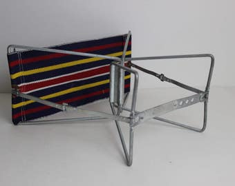 Vintage Metal Canvas Camp Stool Portable Camp Chair Folding Camp Chair