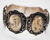 Chinese Export Silver Bracelet - Scrimshaw Bone  - Ornate silver- panel story link bangle