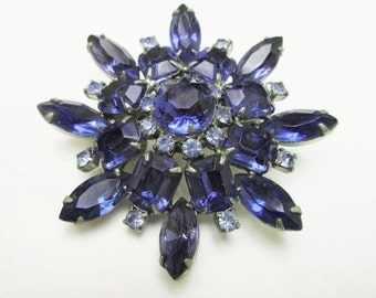 Blue Rhinestone Flower Brooch =Mid Century - Atomic Pin