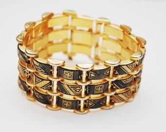 Wide Damascene Link bracelet - 3 rows of gold black  enameling links - Safety chain