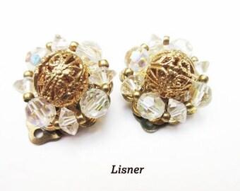 Lisner Earrings - Aurora Borealis crystal - gold filigree - cluster bead - clip on earrings