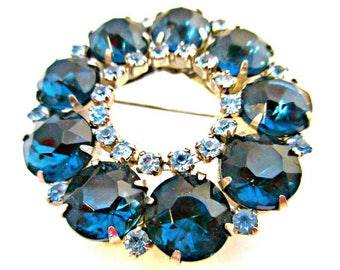Blue Rhinestone Wreath  Brooch  - mid century - light and dark blue Crystal  Round pin