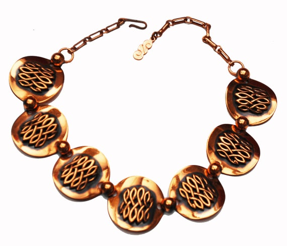 Copper Link Necklace - Modernistic Mod - panel   collar -  mid Century
