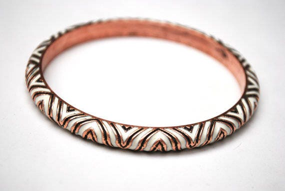 Copper Bangle - black white enamel - etched triangle -  Boho Bracelet - Hippie